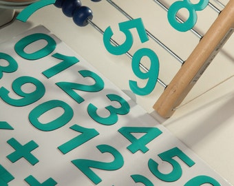 """2"""" turquoise DIGITS on Fridge Magnets, 5 cm magnetic numbers MagWords"""