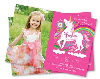 Photo Unicorn Invitation, Unicorn Rainbow Birthday Party, Unicorn Invitation, Personalized Printable DIY, girls photo invite