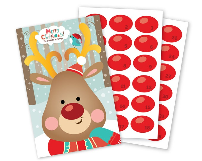 Pin the Nose on Rudolph/Reindeer- holiday party game - DIY party game for school parties