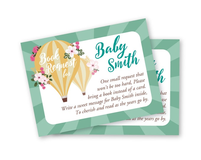 Hot Air Balloon Baby Shower Book Request - Customized Printable - hot air ballon and flowers