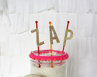 Text Cake Topper - ZAP - superhero or space party decoration