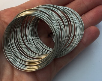 200 Loops Silver Tone Memory Beading Wire 40mm-45mm FD262