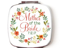 Mother of the Bride Mirror, Personalized Compact Mirror, Bridal Party Gift, Pocket Mirror, gift from the bride, Double Sided Makeup Mirror