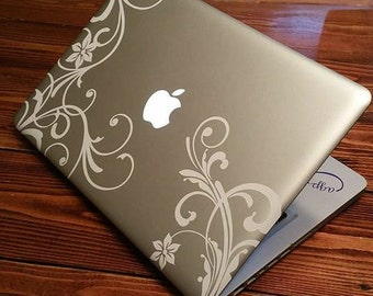 "Cute MacBook laptop Decal 13"" Pro Air sticker flowers script scroll Floral henna vinyl decal for unique design for 13"" 13.3 apple"