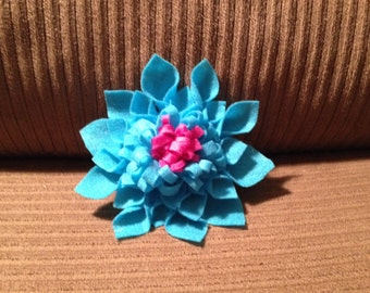 Blue and pink felt flower clip