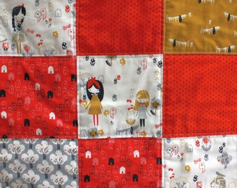 Mori Girls Baby Quilt. Modern cot quilt with a Japanese accent.