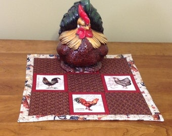 Rooster and Hen Table Topper/Centerpiece or Wall Hanging - Reversible