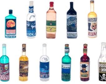 DOLLHOUSE MINIATURES Liquor Bottles #FA40869-FA40871A-FA40885-FA40886-FA40888-FA40889-FA53974
