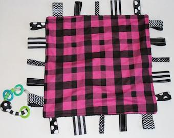 Pink and Black Plaid Teether (Sensory) Blanket