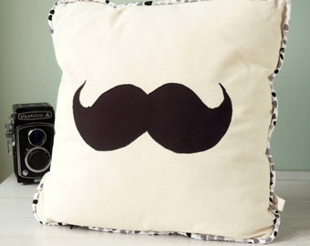 Moustache cushion cover with black and white stripey reverse and zip closure, applique moustache, cotton cushion cover