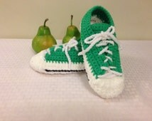 Ladies' Green/White Crocheted Sneaker Slippers