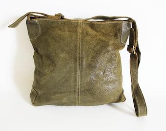 Vintage • Suede Crossbody Bag • Green Suede Bag • Green Crossbody Bag • Suede Crossbody Bag • Suede Messenger Bag • Suede Purse • Military