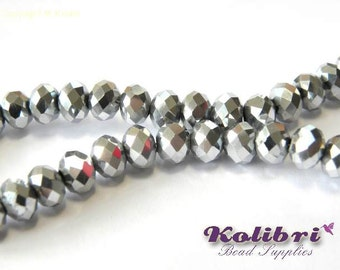 Faceted Glass Briolette Beads, Glass Rondelle Beads 6mm - Metallic Silver