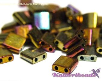 10 g Miyuki Tila Beads 5 x 5mm - Metallic Gold Iris (462)