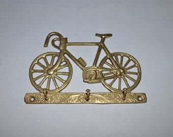 Vintage 1970's brass Bicycle shaped key holder