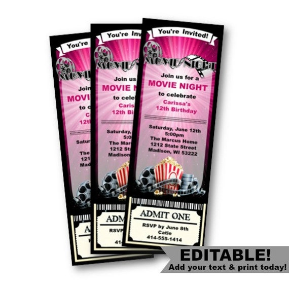 Movie ticket invite – Movie Ticket Invitation Template Free Printable