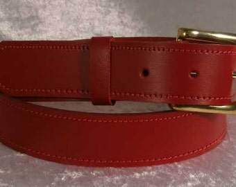 Red leather belt with 30mm brass buckle Made to Order