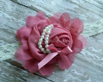 Mauve Flower with Pearls headband