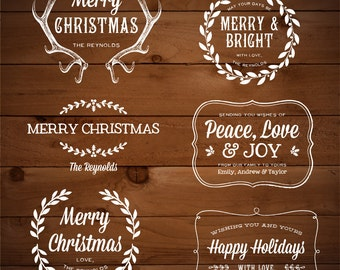 Chalk Digital Holiday Greetings Overlays - Christmas & New Year's Editable Photo Card Template - Adobe Photoshop PSD - Instant Download