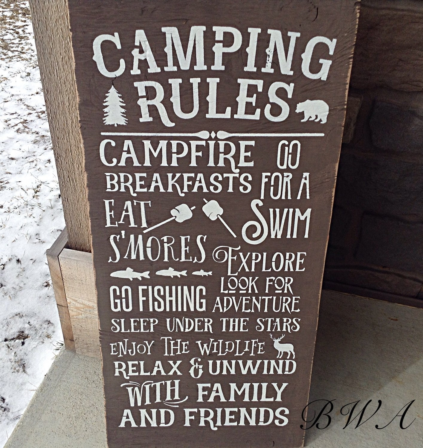 Camping Sign Camping Rules Sign Camping Decor Wooden