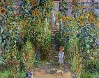 Claude Monet: Monet's Garden at Vetheuil. Fine Art Print/Poster (00767)