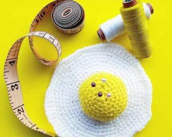 Crochet Fried Egg Play Food Pincushion