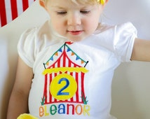 Circus Themed Personalized Shirt or Onesie! Circus themed first birthday. Available for ages 1-9. Circus Themed Cake Smash, Circus Birthday