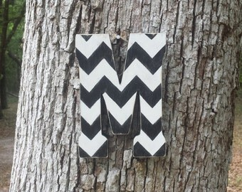 "9"" Hand Cut Chevron Letter, Distressed Wooden Letter, Free Standing/Hanging Letter, Black & White Chevron"