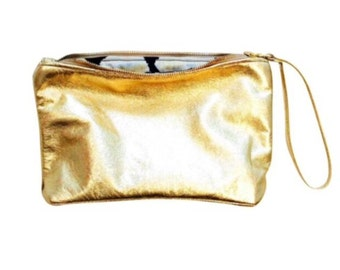 ROSELLA Gold leather clutch. Metallic gold leather clutch. Leather clutch bag.