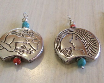 4  Sterling Silver Pendant with Turquoise and Spiny Oyster Beads