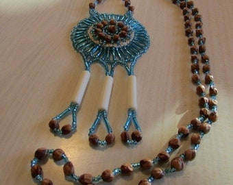 Native American Bead and Cedar Berry Necklace signed