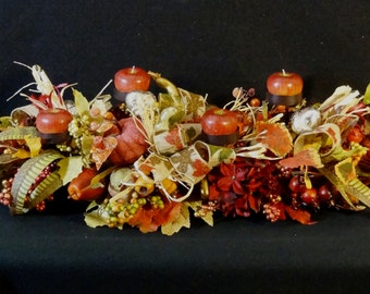 Fall Candle Arrangement,Fall Foliage Candle Centerpiece,Rustic Faux Flower Arrangement,Fall Silk Flower Arrangement,Pumpkins,Gourds
