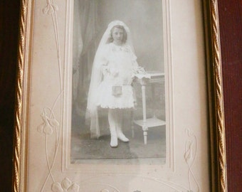 Antique Belgian Picture of Girl in Frame