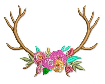 Deer Antlers and Flowers Embroidery Design, Rustic Design Machine Embroidery PES File Instant Download