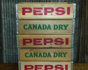 Wholesale lot of 5 Original, Vintage Pepsi Crates/Canada Dry Soda Crates