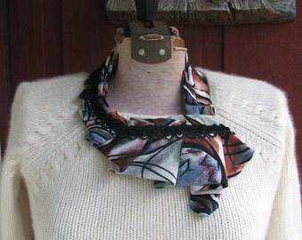 Ladies Silk Nectie - Pleated Silk Ascot - Womens Necktie - Necktie Accessory - Silk Necktie
