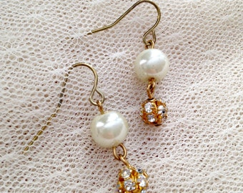 Gold Crystal and Pearl Drop Earrings