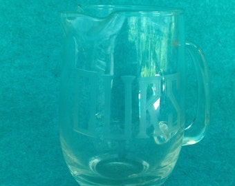 "Martini Pitcher Shaker Handled Mini ""OURS"" Clear Glass 5 1/4"" Tall Vintage"