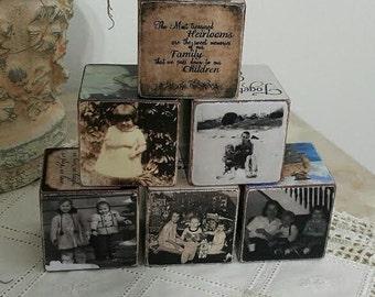 Vintage wooden blocks - Memories wooden blocks - Family Blocks .