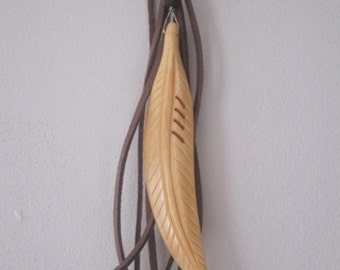Feather Pendant on Braided Leather Necklace with Fringe