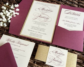 Burgundy Wedding Invitation, Burgundy and Gold Glitter Pocket Wedding Invitation, Marsala Invitation, Wine Invitation