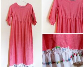 60s Dress, Maxi Dress, Empire Waist, Hippie, Boho, Size Small, 1960s, Linen Dress, Red, Womens Vintage Clothing, Bohmeian, Vintage Handmade