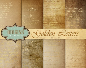 Gold Letters Digital Paper - Vintage Handwritten Letters, Magic Spell Scroll Parchment Old Paper, Scrapbook Paper, Spell book, gold leaf