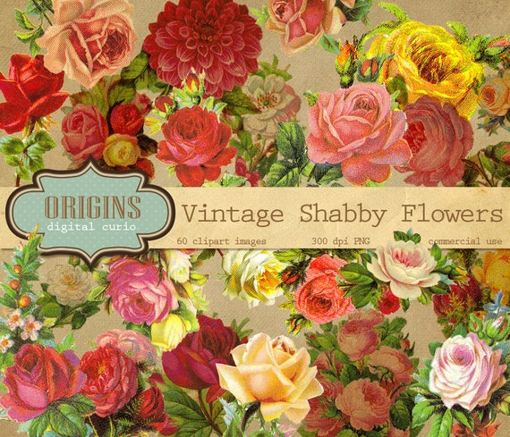 Vintage rose clipart Shabby chic clip art old rustic vintage