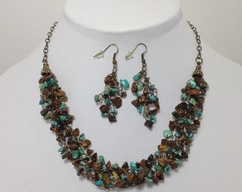 Tiger Eye, Blue Green Turquoise, Antique Brass Wire, Wire Crochet, Necklace, Earrings (B748)