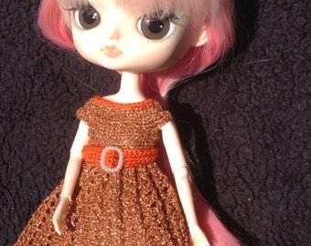 Handmade Crochet Pullip Dal GLITTERY COPPER DRESS