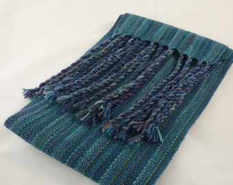 Hand Woven Scarf - Ocean Blues and Greens!