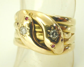 Antique Victorian double Snake ring diamond & ruby 18ct gold 1880 size W 10.8g