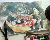 Koi Carp Painting, Fish Watercolor, Fish Art, Fish Painting, Original Painting, Modern Watercolor, Custom Watercolor, Water Color Art