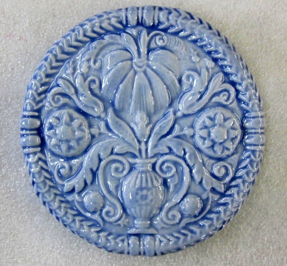 Decorative Ceramic Tile -- Floral ButterMold Tile in Country Blue, antique butter mold